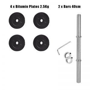 Dumbbells -2 Bars and 4 Bitumin Plates of 2.5kg