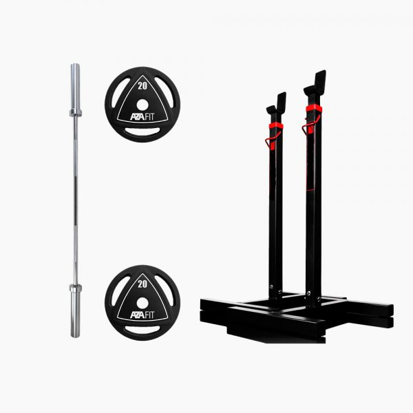 BARBELL STAND + 7FT PRO OLYMPIC BAR +2x TRI-GRIP PLATES 20KG