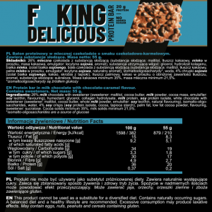 FITKING DELICIOUS PROTEIN BAR 55g CHOCOLATE CARMEL USE BY DATE 31.10.2021  BOX